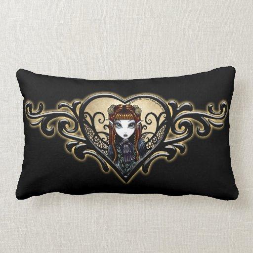 Almohada de hadas gótica del corazón del tatuaje cojín lumbar