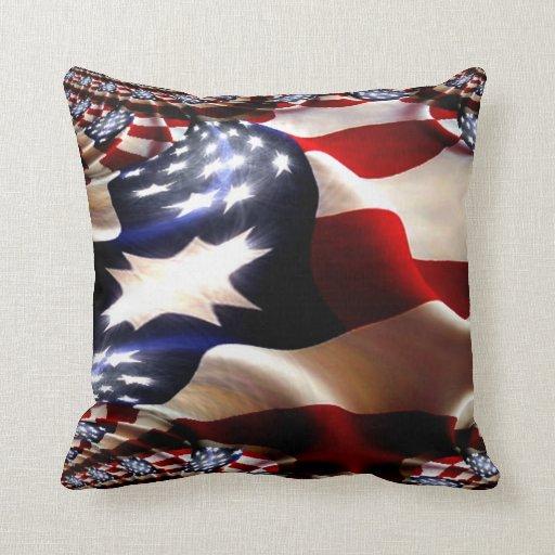 Almohada de la bandera americana del fractal