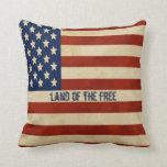 Almohada de la bandera americana del vintage