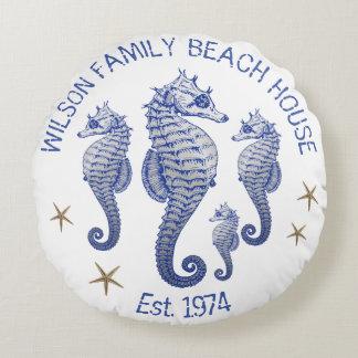 Almohada de la casa de playa del apellido del cojín redondo