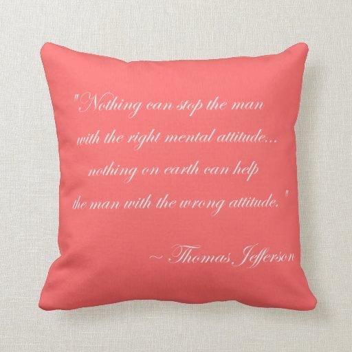 Almohada de la cita de la actitud de Thomas Jeffer