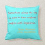 Almohada de la cita de la felicidad