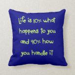 Almohada de la cita de la vida