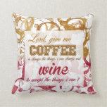 Almohada de la cita del café y del vino