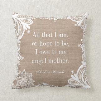 Almohada de la cita del día de madre cojín decorativo
