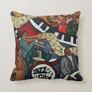 Almohada de la ciudad del jazz cojín decorativo