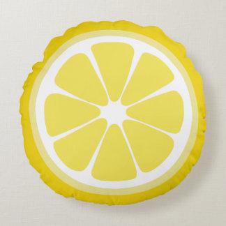 Almohada de la comida de la rebanada del limón cojín redondo