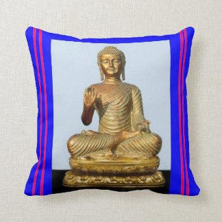 Almohada de la escultura de Buda del oro del azul