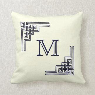 Almohada de la esquina del monograma de la