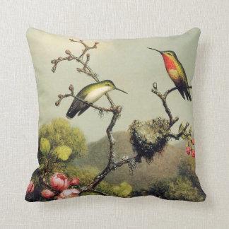 Almohada de la familia del colibrí y del flor de cojín decorativo