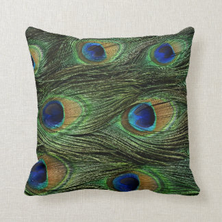 Almohada de la impresión de la pluma del pavo real