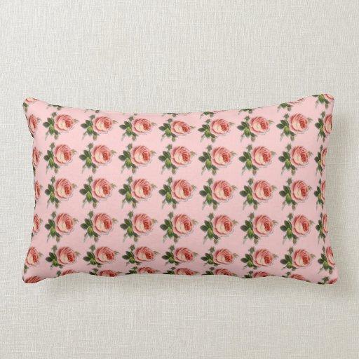 Almohada de la impresión del rosa de té