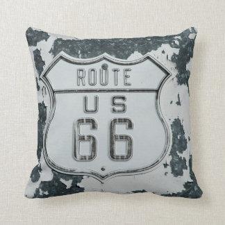 Almohada de la muestra del vintage de la ruta 66 cojín decorativo