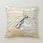 Almohada de la música del violín del vintage