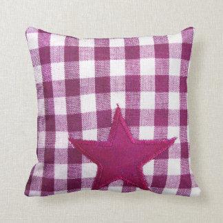 Almohada de la tela escocesa de la estrella