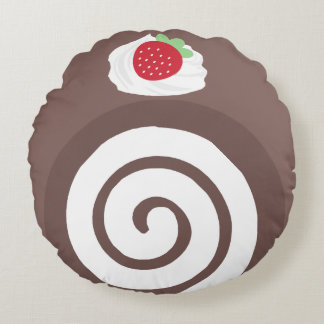 Almohada de la torta del rollo suizo del chocolate cojín redondo