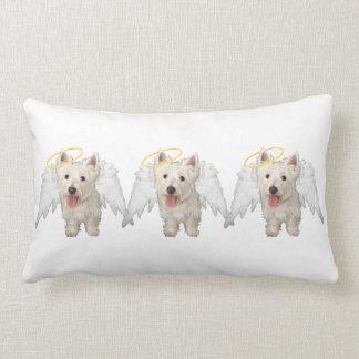 ALMOHADA de los ángeles de Terrier blanco de monta