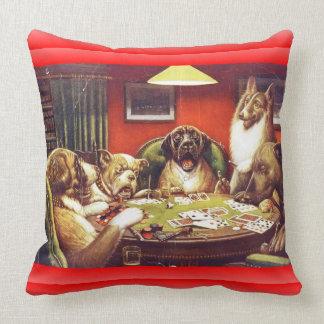 Almohada de los naipes de los perros