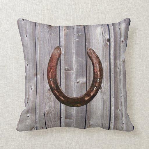 Almohada de madera rústica de herradura afortunada cojín decorativo