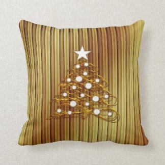 Almohada de oro decorativa del árbol de navidad