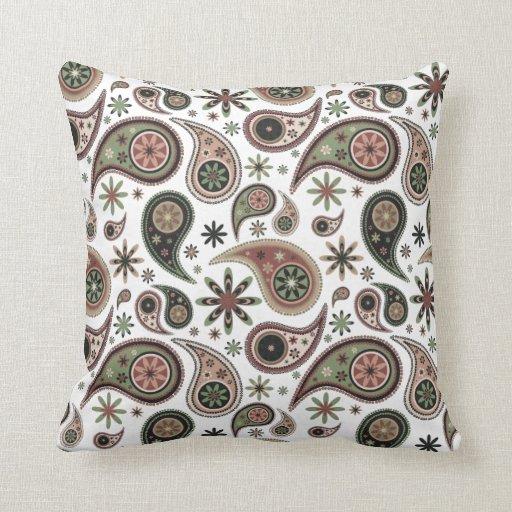 Almohada de Paisley - verde/rosa - 1