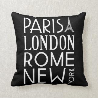 Almohada de París, de Londres, de Roma y de Nueva Cojín Decorativo