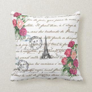 Almohada de París de los rosas del vintage de la t