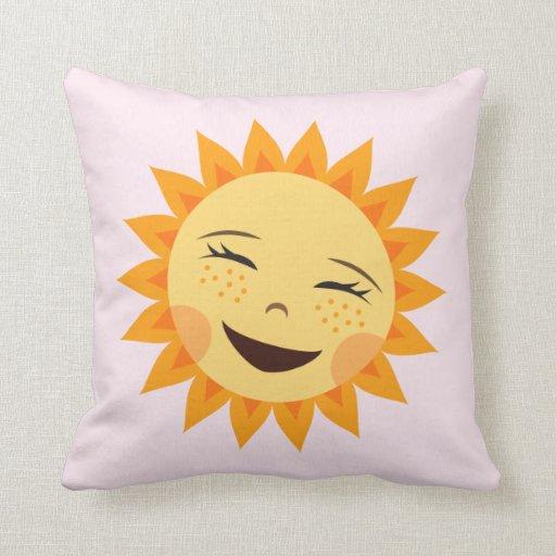 Almohada de risa feliz linda del sol del dibujo an