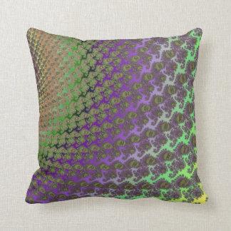 Almohada de tiro abstracta verde y púrpura del fra