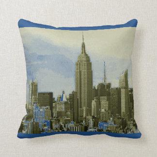 Almohada de tiro amarilla azul de New York City