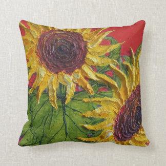 Almohada de tiro amarilla de los girasoles cojín decorativo