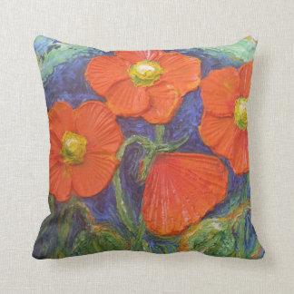 Almohada de tiro anaranjada de las amapolas cojín decorativo
