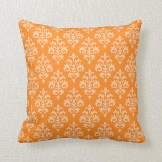 Almohada de tiro anaranjada moderna del damasco