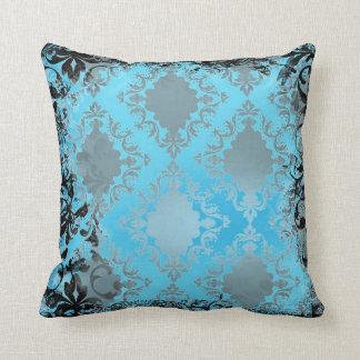 Almohada de tiro azul de Boho y negra elegante del