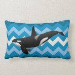 Almohada de tiro azul de Chevron de la orca de la