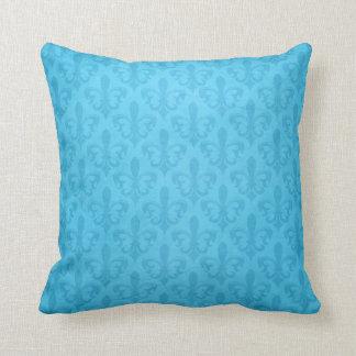 Almohada de tiro azul del damasco de la flor de li