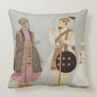 Almohada de tiro azul, gris y rosada polvorienta