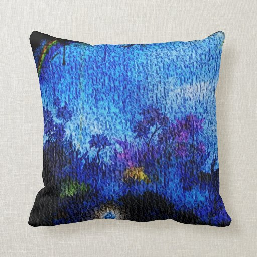 Almohada de tiro azul única de la ilusión de la