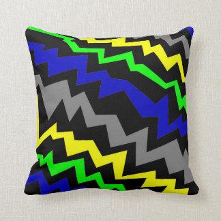 Almohada de tiro Azul-Verde-Amarilla eléctrica