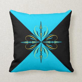 Almohada de tiro azul y negra de Edwardian