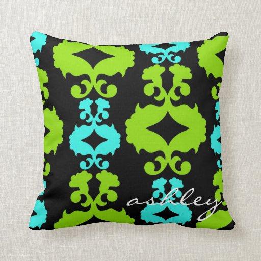 Almohada de tiro azul y verde del damasco