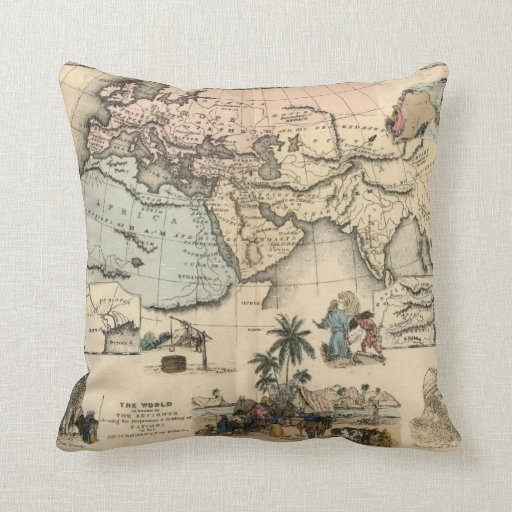 Almohada de tiro bíblica vieja del mapa