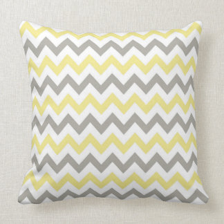 Almohada de tiro blanca, amarilla y gris del
