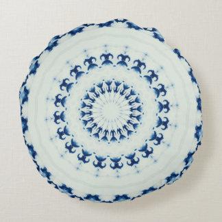 Almohada de tiro blanca azul redonda cojín redondo