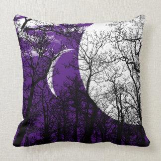 Almohada de tiro blanca negra púrpura del árbol cojín decorativo