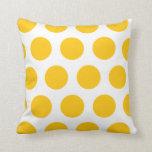 Almohada de tiro blanca y amarilla del lunar
