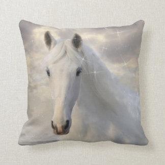 Almohada de tiro chispeante del caballo blanco cojín decorativo