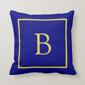 Almohada de tiro con monograma de los azules cojín decorativo
