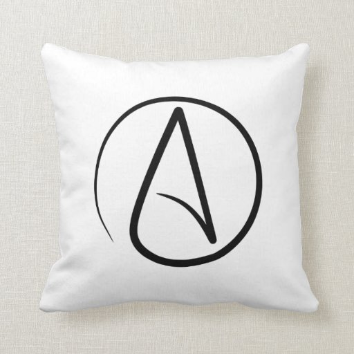 Almohada de tiro con símbolo del ateísmo