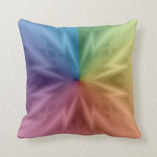 Almohada de tiro cuadrada simétrica del arco iris